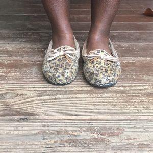 Animal print sequin bedroom shoes